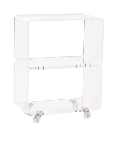Foxhill Trading Pure Décor Acrylic Stacked Accent Table, Clear
