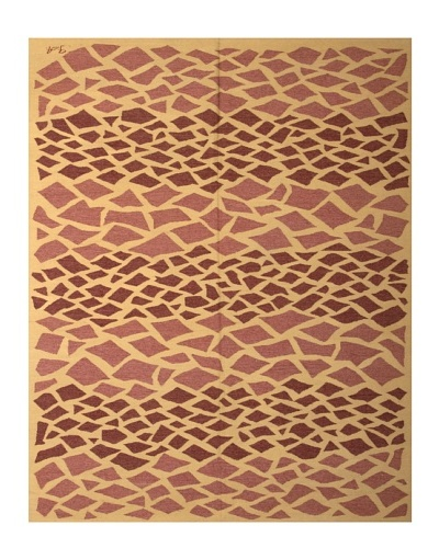 French Accents Modern Flatweave Killim Rug [Brick/Mauve/Natural]