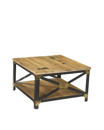 French Heritage Industrial Square Coffee Table, Sun Bleached Oak