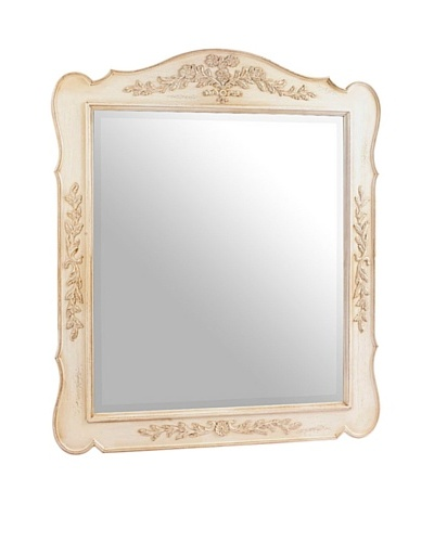 French Heritage Normandy Large Carved Mirror, French White