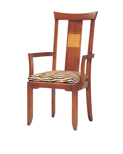French Heritage Samurai Side Chair, Black with Tiger Fabric