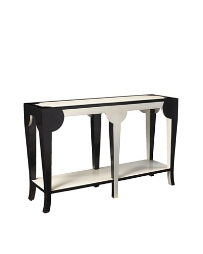 French Heritage Bellevue Curved Console, Black/White