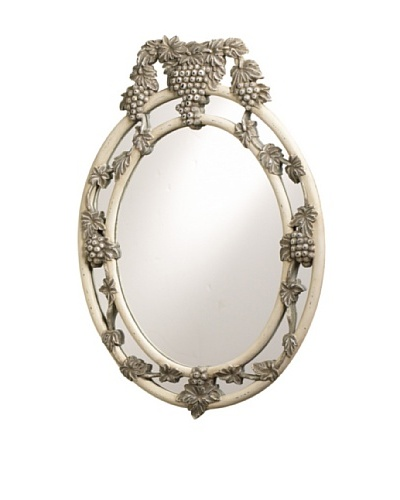 French Heritage Petite Cru Grape and Vine Mirror, White and Grey