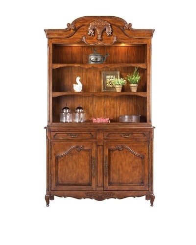 French Heritage Flower Basket Open Hutch, Antique Cherry