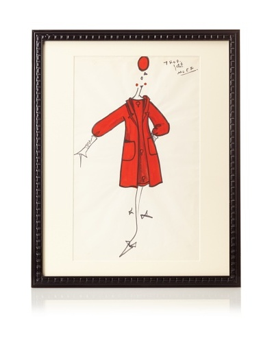 Michel Goma Fashion Sketch, 21.5 x 17.5