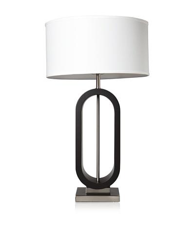 Nova Lighting Oskar Standing Table Lamp, Dark Brown/Silver/White