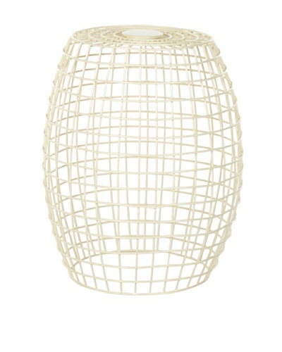 Safavieh Home Collection Maddy Steelworks Iron Grid Stool, Off White