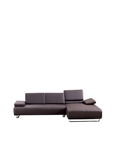 Furniture Contempo Emotion Right-Side Sectional Chaise, Chocolate/Silver