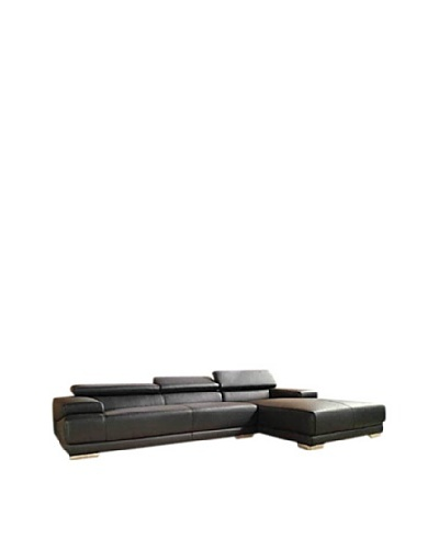 Furniture Contempo Melody Right-Side Sectional Chaise, Black/Silver