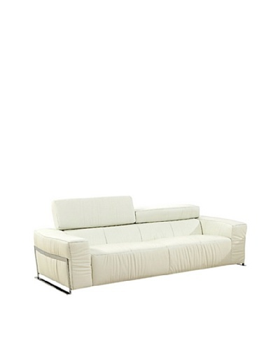 Furniture Contempo Nalah Sofa, White/Silver