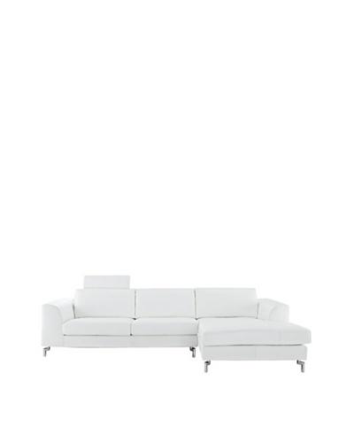 Furniture Contempo Angela Sectional, White/Silver