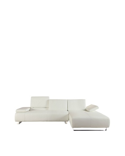 Furniture Contempo Emotion Right-Side Sectional Chaise, White/Silver