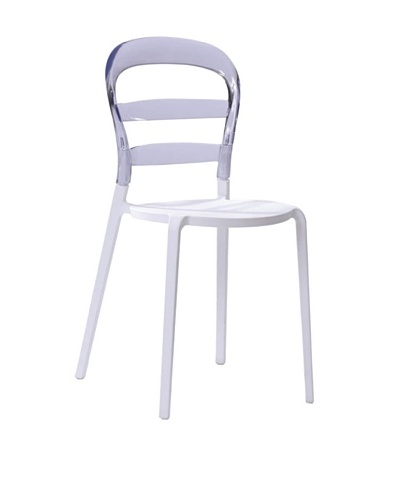 Furniture Contempo Cosmo Chair, White/Clear