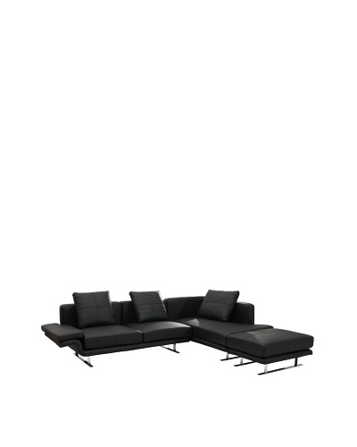 Furniture Contempo Savoy Sectional, Black/Silver