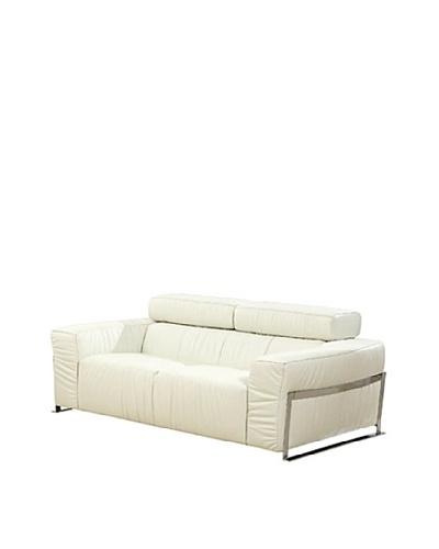Furniture Contempo Nalah Loveseat, White/Silver