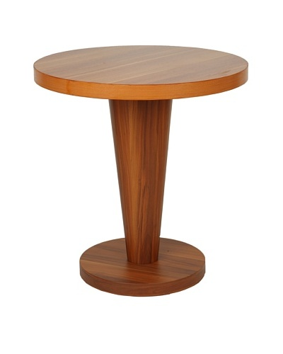 Furniture Contempo Basil Round Side Table, Walnut Veneer