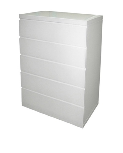 Furniture Contempo Anna Chest of Drawers, High Gloss White