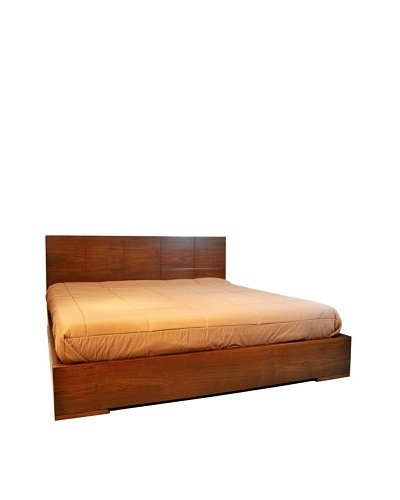 Furniture Contempo Anna Bed, Walnut Veneer, Queen