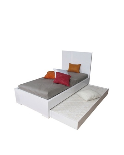 Furniture Contempo Anna Bed, Twin Trundle, High Gloss White