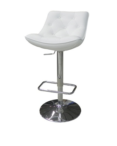 Furniture Contempo Cindy Bar Stool, White/Silver