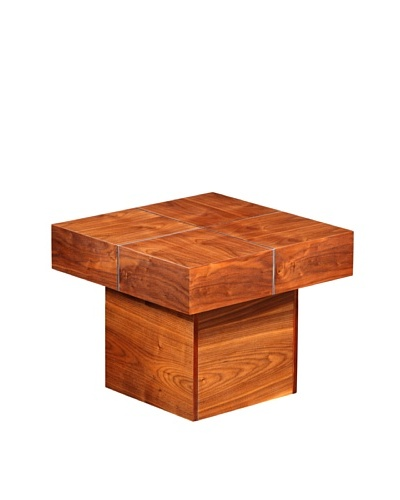 Furniture Contempo Abby Side Table, Walnut/Silver