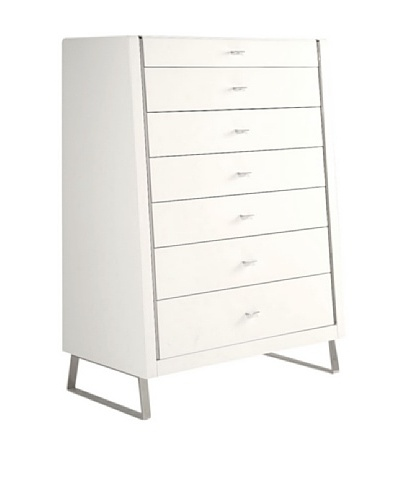 Furniture Contempo Bahamas Chest of Drawers, White/Silver