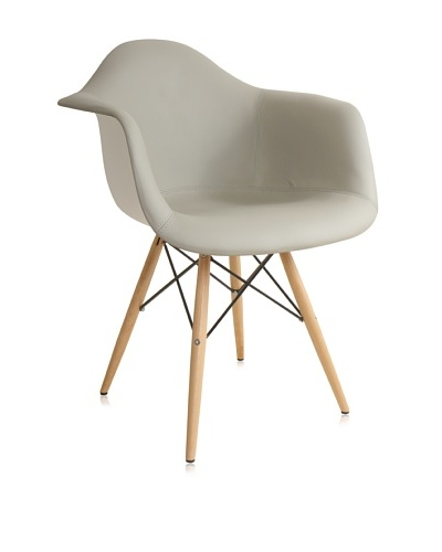 Control Brand Mid Century-Inspired Arm Chair with Vinyl-Covered Seat, Grey/White