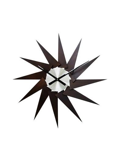 Kirch & Co. Oversized Wooden Turbine Wall Clock, Dark Wood