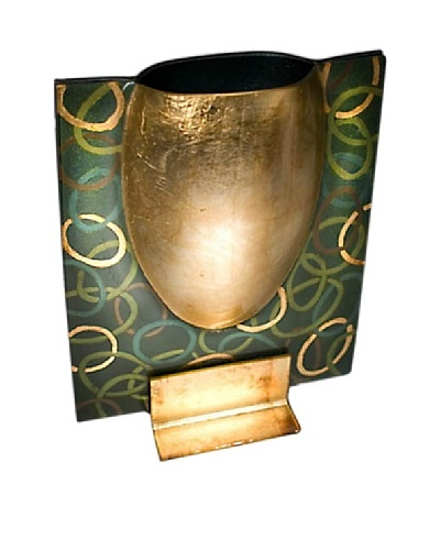 FusionZ Rectangular Bowl Vase [Gold/Green]