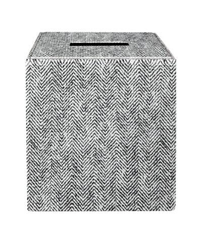 Gail DeLoach Vinyl Tissue Box, White Herringbone