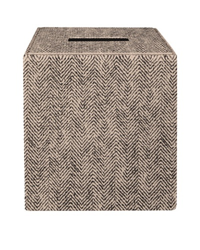 Gail DeLoach Vinyl Tissue Box, Taupe Herringbone