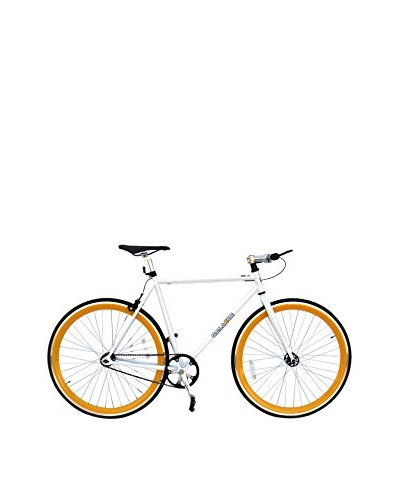 Galaxie Fixed Gear Bike, White/Orange, 54cm