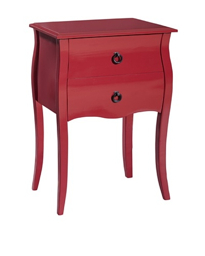 Gallerie Décor Lido Double-Drawer Accent Table, Red