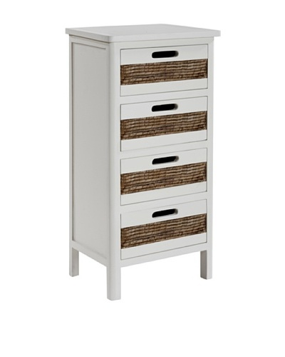 Gallerie Décor Bali Four-Drawer Cabinet, WhiteAs You See