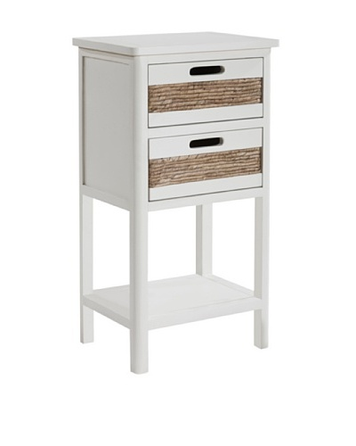 Gallerie Décor Bali Two-Drawer Accent Table, White