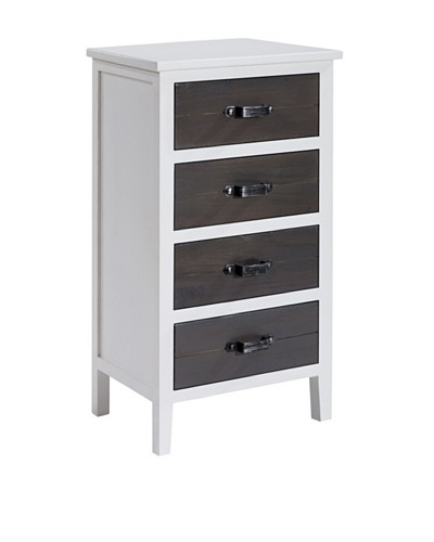 Gallerie Décor Adirondack Four-Drawer Accent Cabinet, White