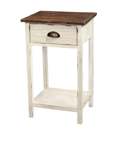 Gallerie Décor Dover One-Drawer Accent Table, Cream