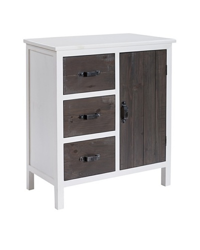 Gallerie Décor Adirondack One-Door Three-Drawer Accent Chest, White