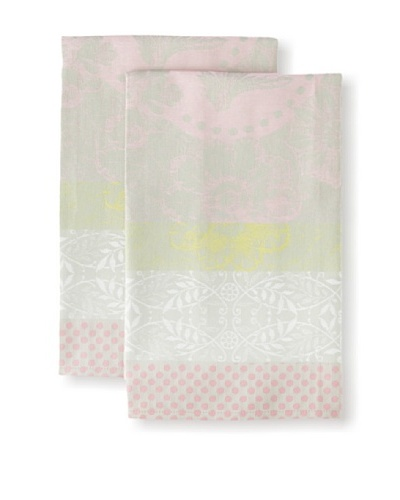 Garnier-Thiebaut Set of 2 Pensèe Kitchen Towels, Rose