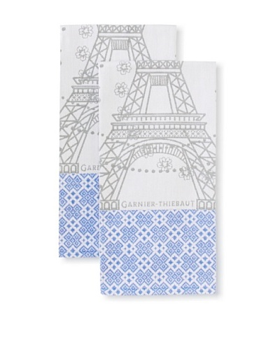 Garnier-Thiebaut Set of 2 Tour Eiffel Fer Kitchen Towels, Multi