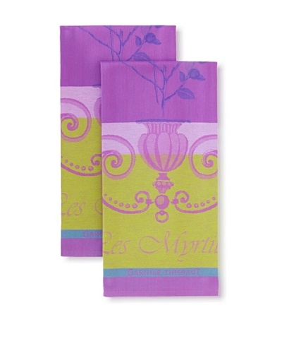 Garnier-Thiebaut Set of 2 Myrtilles Kitchen Towels, Violet