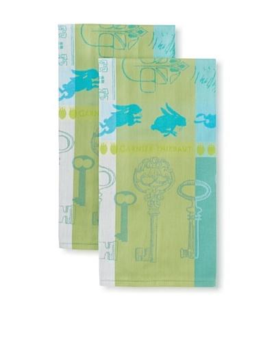 Garnier-Thiebaut Set of 2 Lapin Kitchen Towels, Turquoise