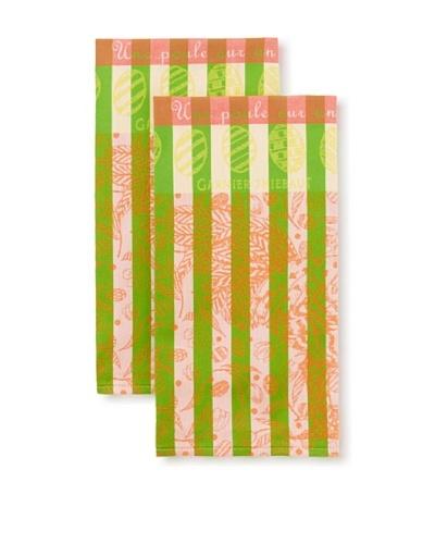 Garnier-Thiebaut Set of 2 Poule Qui Picote Picnic Kitchen Towels, Multi