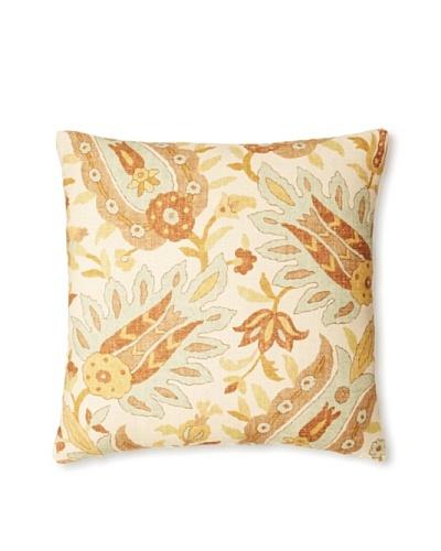 """The Pillow Collection Gafsa Paisley Decorative Pillow, Aqua/Brown, 18"""" x 18"""""""