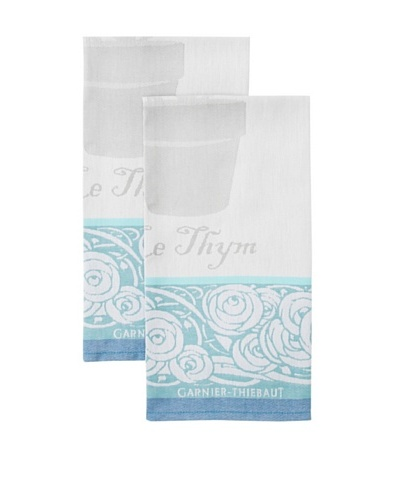 Garnier-Thiebaut Set of 2 Thym Kitchen Towels, Turquoise