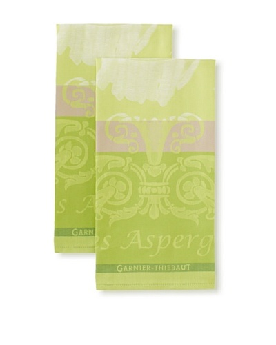 "Garnier-Thiebaut Set of 2 Les Aspereges Blanches Kitchen Towels, Vert, 22"" x 30"""