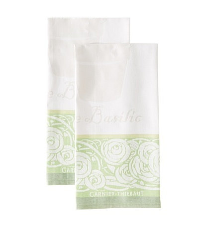 Garnier-Thiebaut Set of 2 Basilic Kitchen Towels, Vert