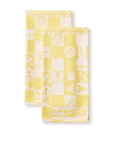 Garnier-Thiebaut Set of 2 Bistrot Kitchen Towels, Jaune
