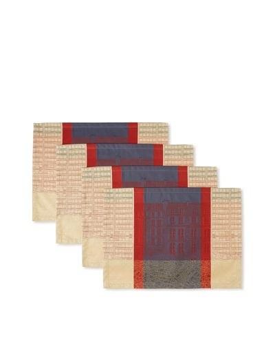 "Garnier-Thiebaut Set of 4 Agora Place Mats, Macadam, 20"" x 16""As You See"