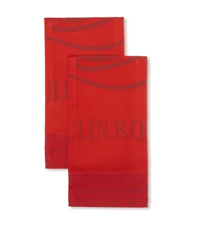 Garnier-Thiebaut Set of 2 Moulin Rouge Magic Kitchen Towels [Sweet Pink]